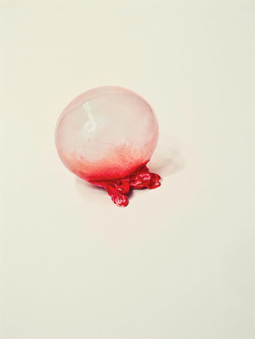 Bubble gum drawings by artist Julia Randall