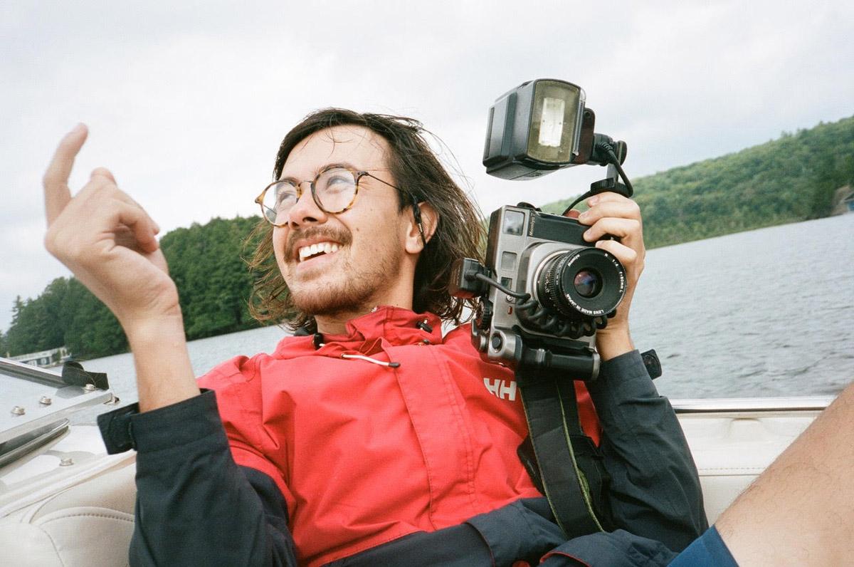 Brendan George Ko and his Mamiya 7 camera - photo by Mark Sommerfeld