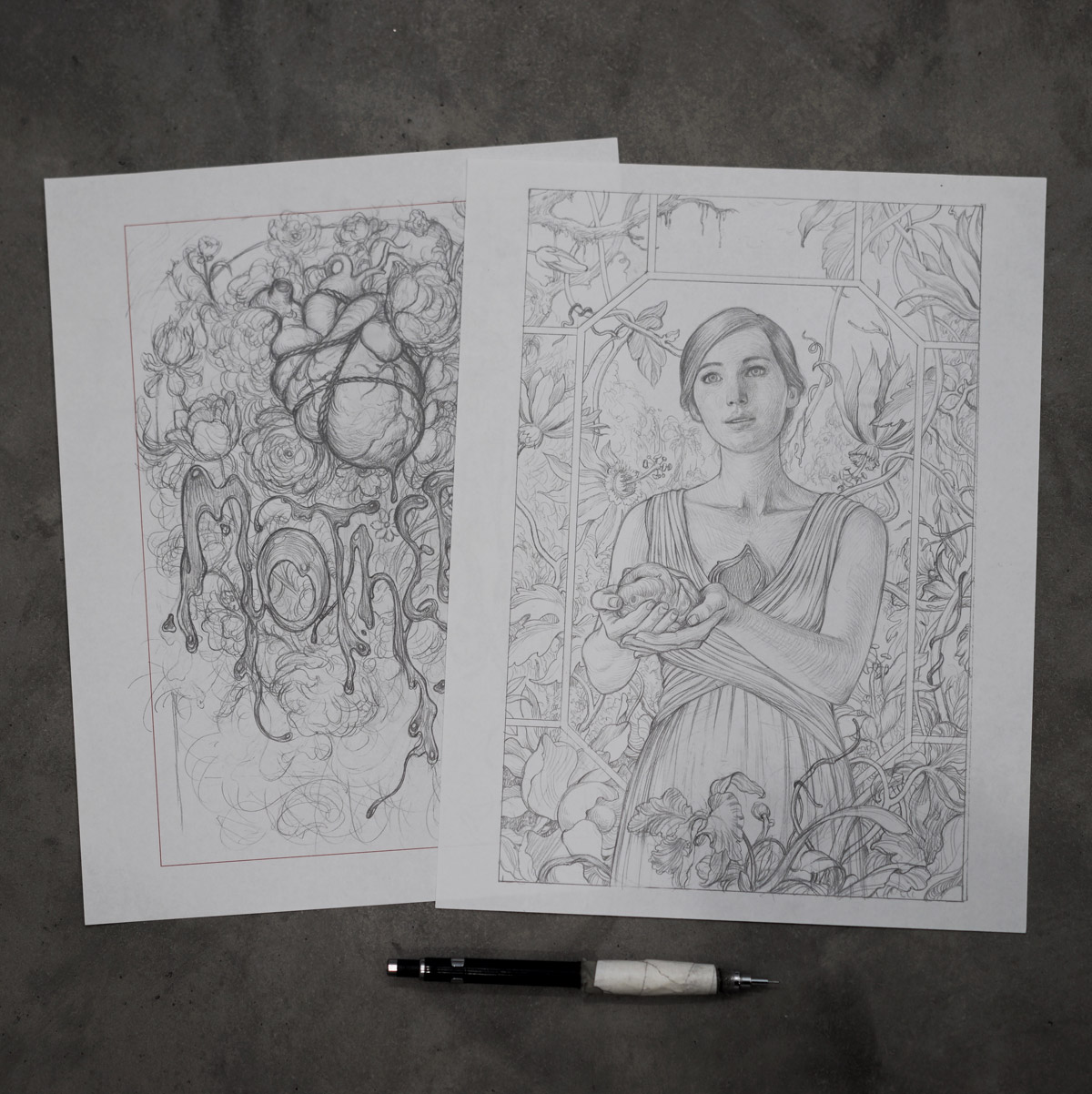 James Jean's sketches of Jennifer Lawrence for mother! film poster