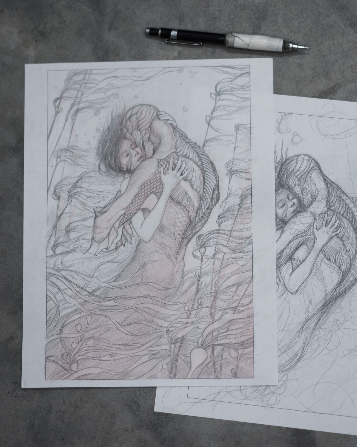 James Jean's sketches for The Shape of Water film