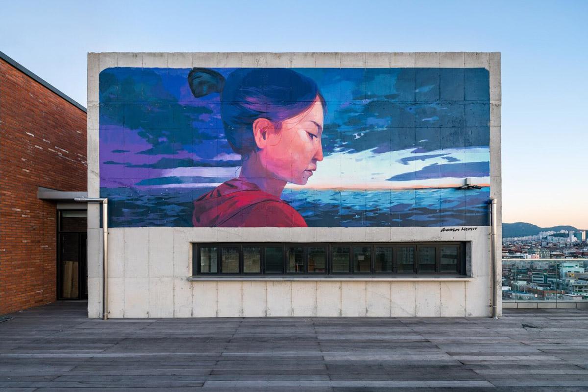 Mural by Andrew Hem, photo by Brandon Shigeta