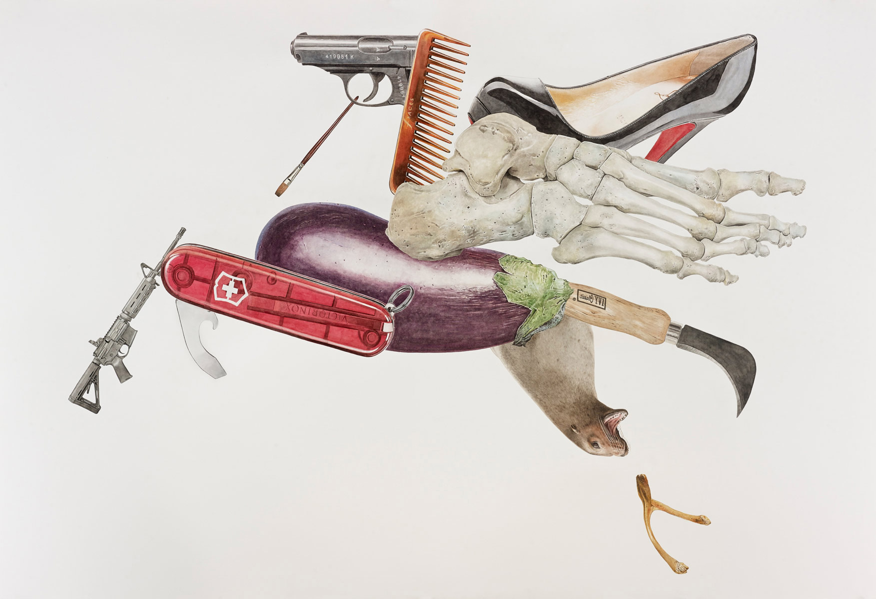 Pegasus (Mobil), 2014, 43 5/8 x 63 5/8 inches, Watercolor on hot press paper