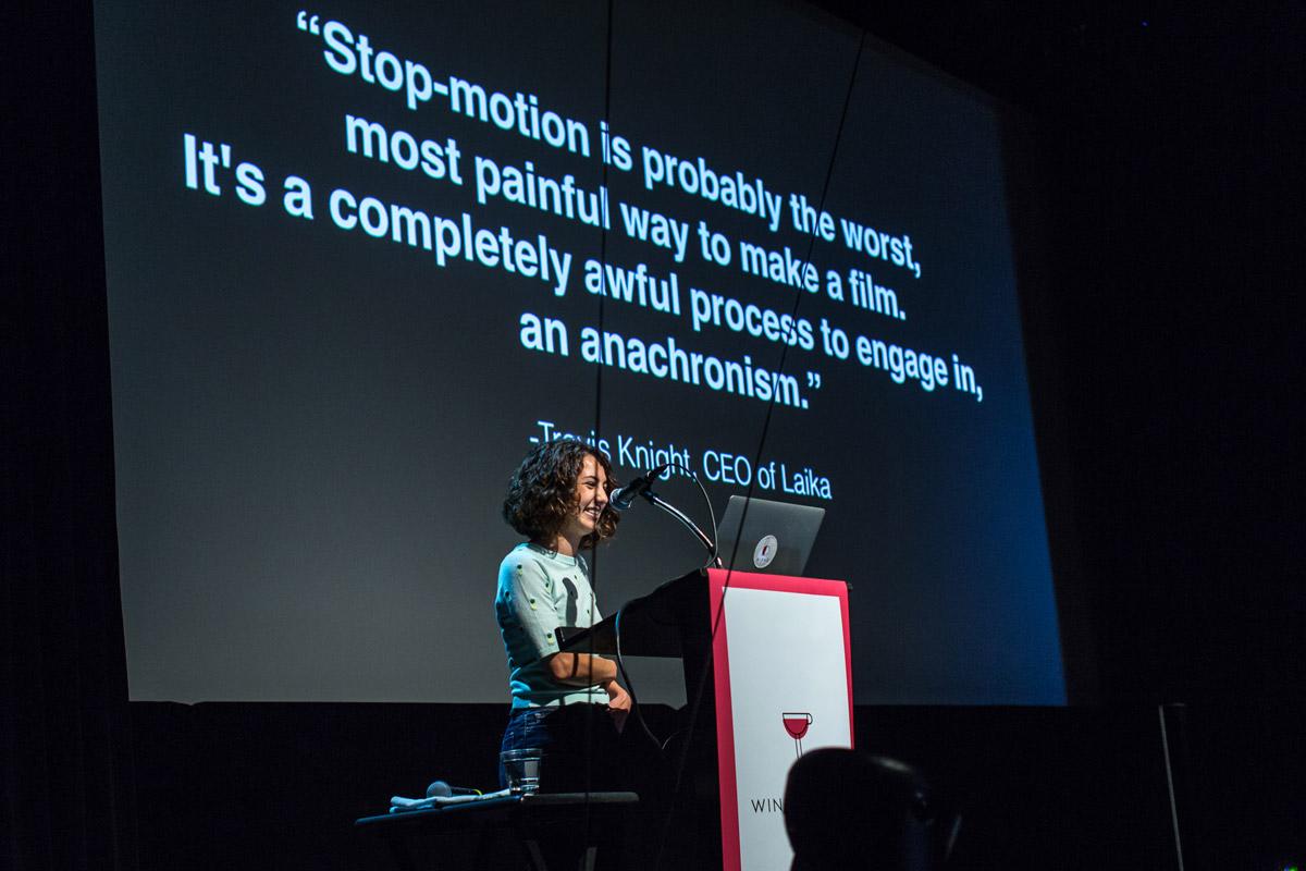 Kirsten Lepore speaking at Blend Fest in Vancouver (2015)