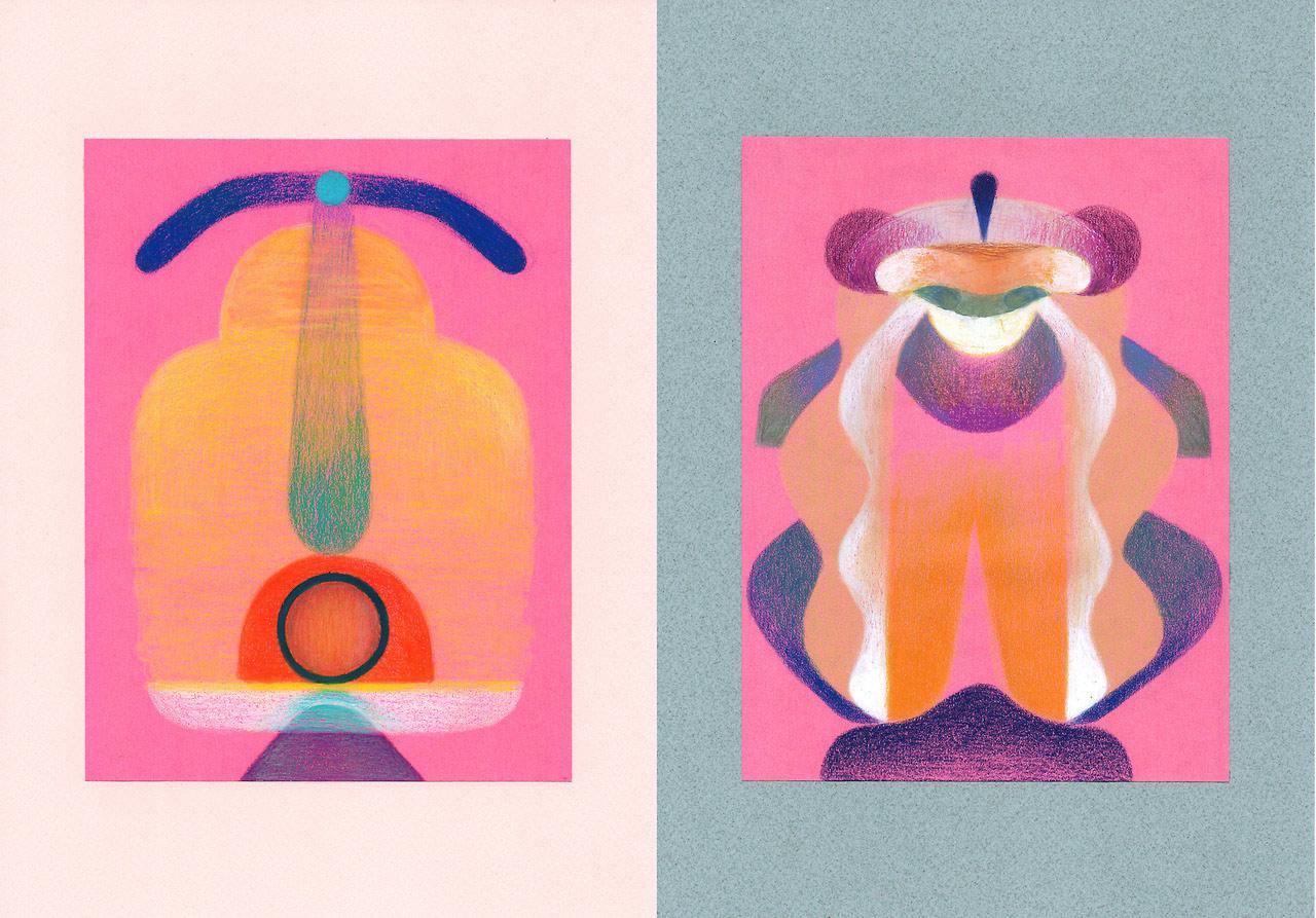 Mixed media on paper works by Debora Cheyenne Cruchon
